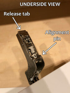 Blum hinge adjustment - Underside of hinge